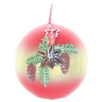 Weihnachtskerze Rot - Kugel mit Kerze - 7cm