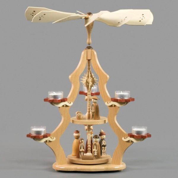 Dregeno Erzgebirge - Pyramide 2-stöckig mit Christi Geburt, für Teelichte - 47cm
