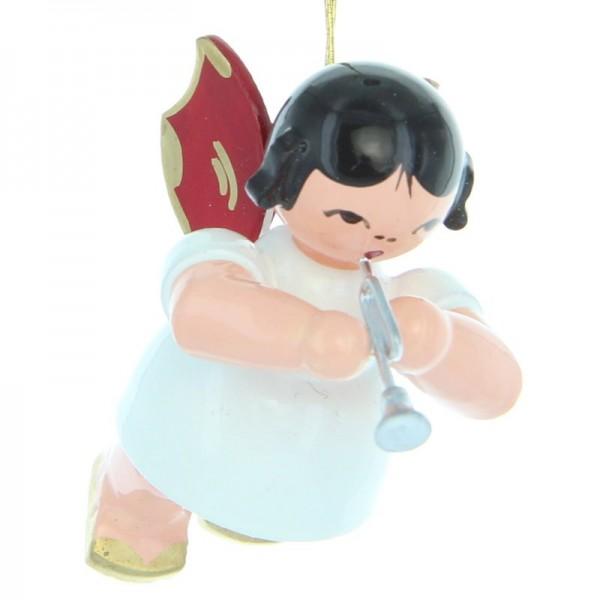 Uhlig Engel schwebend mit Piccolotrompete, rote Flügel, handbemalt