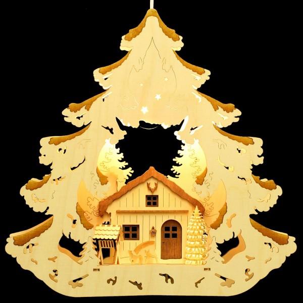 HELA Holzkunst - Fensterbild Baum Forsthaus Reh bebeizt