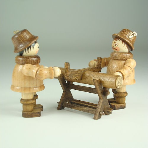 Lenk & Sohn Gedrechselte Holzfigur Erzgebirge Waldfiguren 2 Arbeiter mit Sägebock