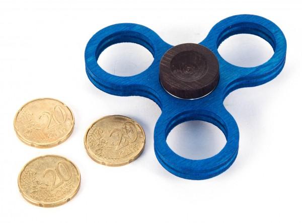 Dregeno Erzgebirge - Holz-Hand-Kreisel klein, blau (für 20-Cent-Münzen)