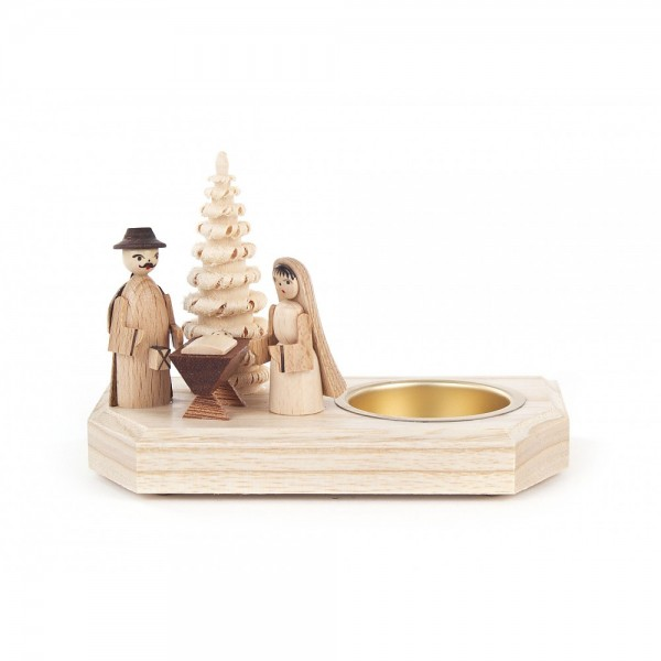 Dregeno Erzgebirge - Teelichthalter mit Christi Geburt - 9cm