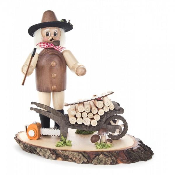 Dregeno Erzgebirge - Räuchermann Waldarbeiter mit Holzkarre
