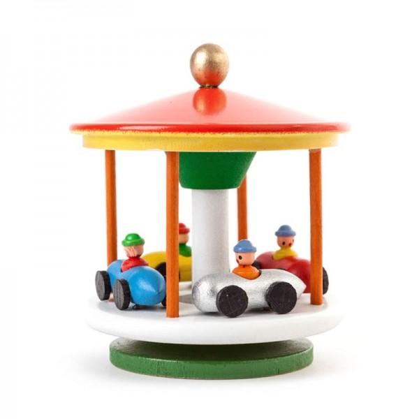 Dregeno Erzgebirge - Miniatur-Karussell mit Rennautos, farbig