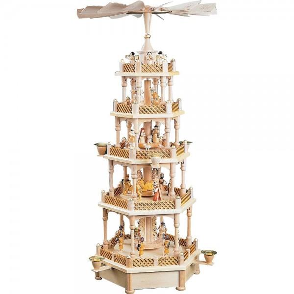 Richard Glässer Erzgebirgspyramide Christi Geburt 4-stöckig mit Spielwerk Stille Nacht 70cm