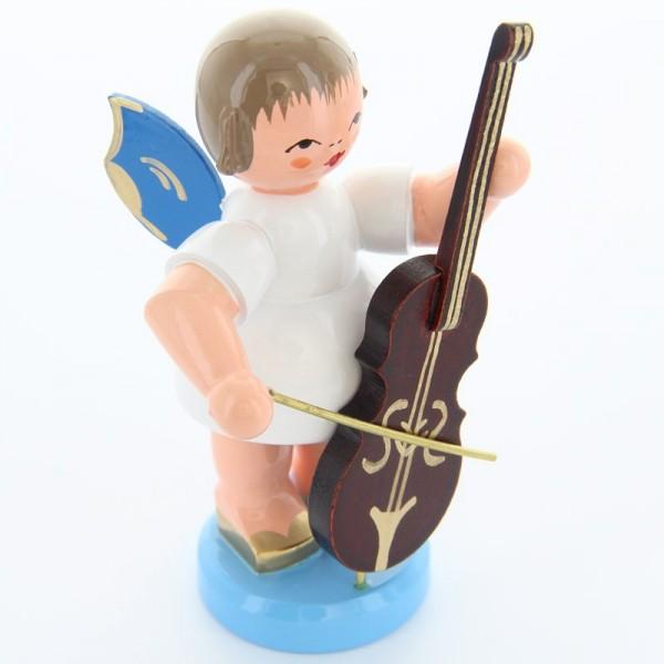 Uhlig Engel stehend groß mit Cello, blaue Flügel, handbemalt