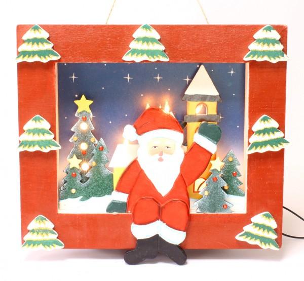Restposten - Wandbild mit Weihnachtsmann und beleuchtete Christbäumchen, beleuchtet