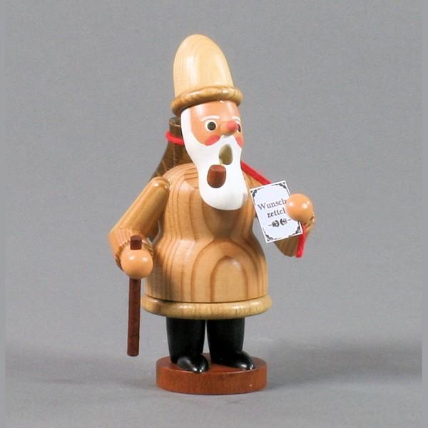 Dregeno Erzgebirge - Miniatur-Räuchermann Ruprecht mit Holzsack, natur - 12cm