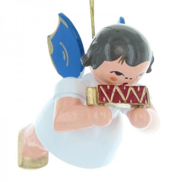 Uhlig Schwebeengel mit Mundharmonika, blaue Flügel, handbemalt