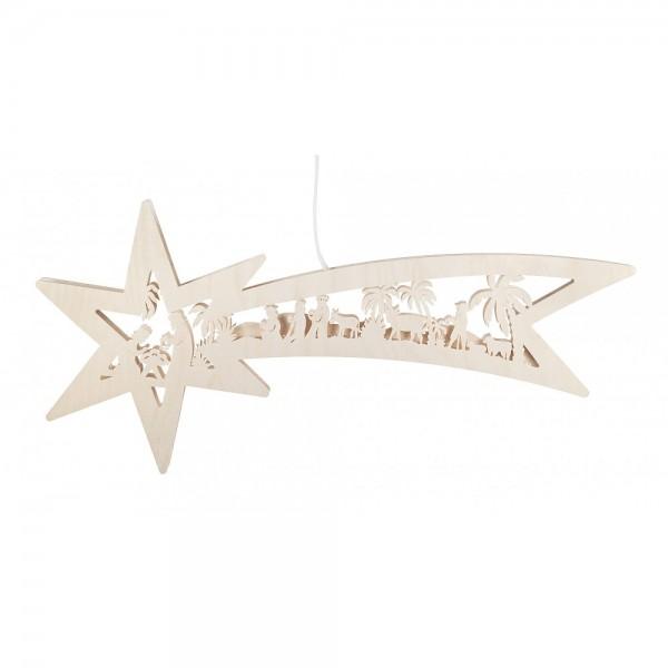 RATAGS - Fensterbild Sternschweif mit Christi Geburt, elektrisch beleuchtet - 59 x 27cm