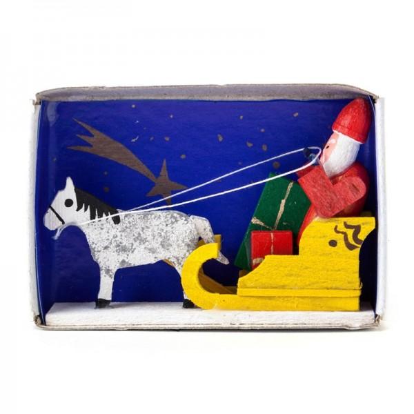 Dregeno Erzgebirge - Miniatur-Zündholzschachtel Weihnachtsmann mit schlitten