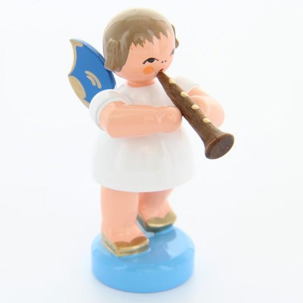 Uhlig Engel stehend mit Klarinette, blaue Flügel, handbemalt