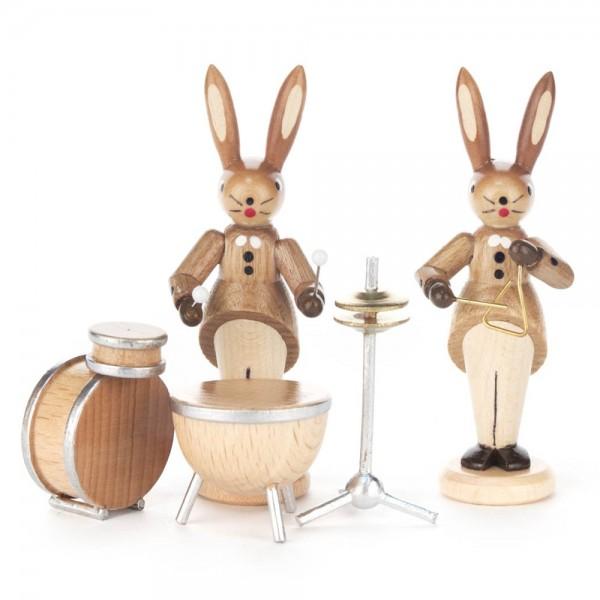 Dregeno Erzgebirge - Hasenpaar mit Schlagzeug und Triangel
