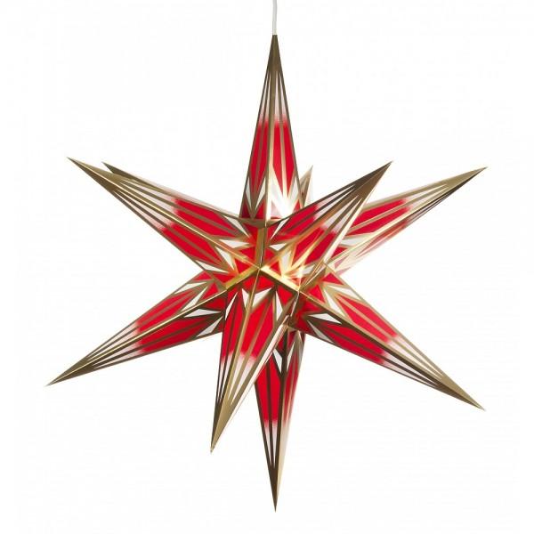 Dregeno Erzgebirge - Haßlauer Weihnachtsstern rot/gold für innen - Ø 64cm