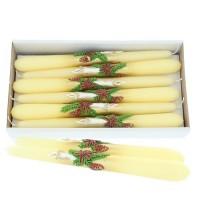 Weihnachtskerze Creme - Spitzkerzen-Set mit Kerze - 12-teilig
