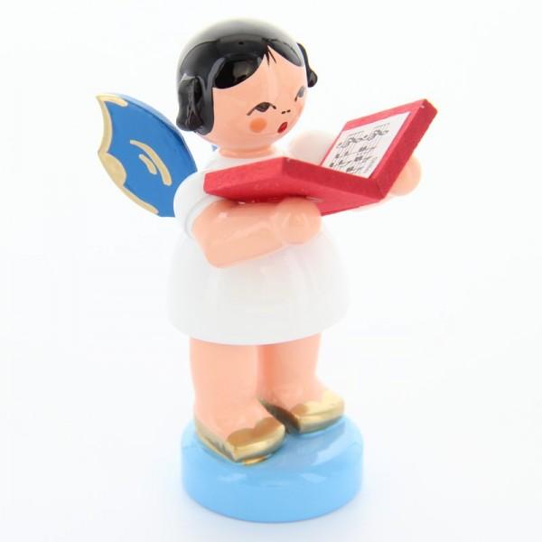 Uhlig Engel stehend mit Buch, blaue Flügel, handbemalt