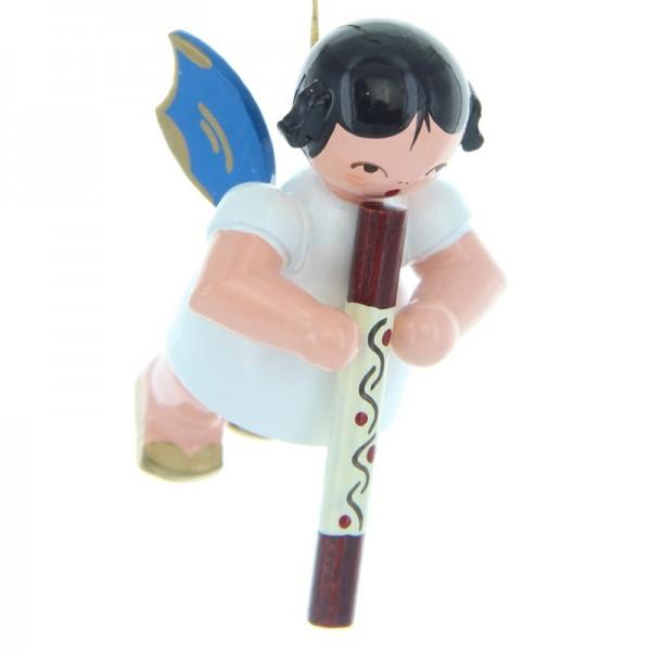 Uhlig Schwebeengel mit Didgeridoo, blaue Flügel, handbemalt