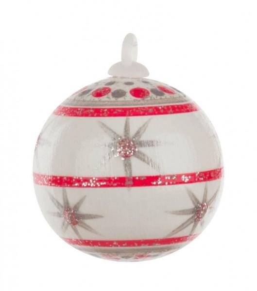 Dregeno Erzgebirge - Weihnachtsbaumkugel 3,0cm,weiß-Variante: 8/30