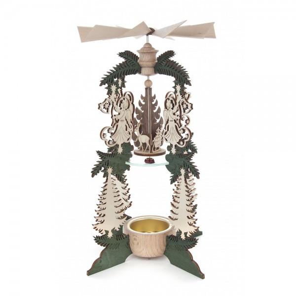 Dregeno Erzgebirge - Teelichtwärmespiel mit Engel und Baum - 22cm