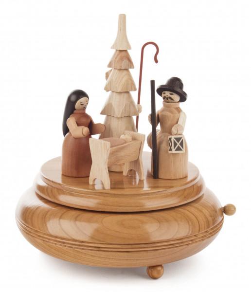 Dregeno Erzgebirge - Spieldose mit Krippefiguren natur, Melodie »Am Weihnachtsbaume«