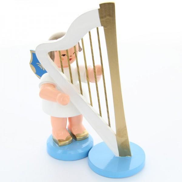Uhlig Engel stehend groß mit Harfe, blaue Flügel, handbemalt