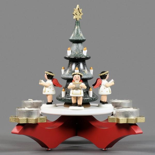 Dregeno Erzgebirge - Adventsleuchter mit 4 Engeln und Weihnachtsbaum, für Teelichter - 27cm