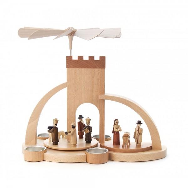 Dregeno Erzgebirge - Pyramide Torbogen mit Christi Geburt, traditionelle Figuren - 28cm