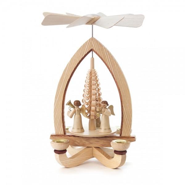 Dregeno Erzgebirge - Pyramide mit Spanbaum und Engel, für Kerzen - 28cm