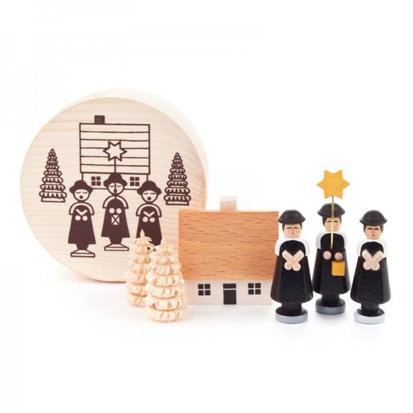 Dregeno Erzgebirge - Miniatur-Kurrendesänger, schwarz, in Spandose