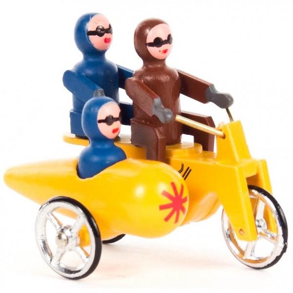 Dregeno Erzgebirge - Miniatur-Motorrad Doppelsitzer mit Seitenwagen gelb