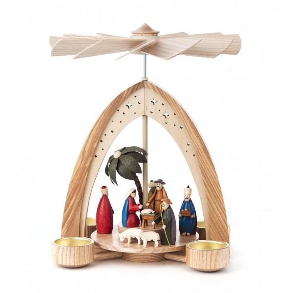 Dregeno Erzgebirge - Pyramide klein mit Christi Geburt, Figuren farbig, für Teelichter - 27cm