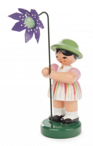 Dregeno Erzgebirge - Blumenmädchen weiß gestreift/grün, Blume violett
