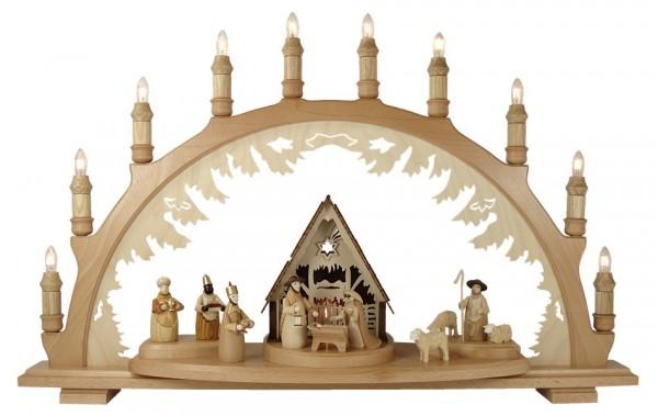 Lenk & Sohn Schwibbogen Erzgebirge 1-fach, 10-flammig Krippe mit Figuren