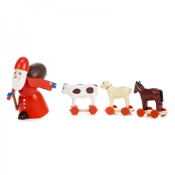 Dregeno Erzgebirge - Miniatur-Ruprecht mit Spielzeugtieren