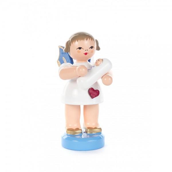 Dregeno Erzgebirge - Herzengel mit Baby, Junge, blaue Flügel