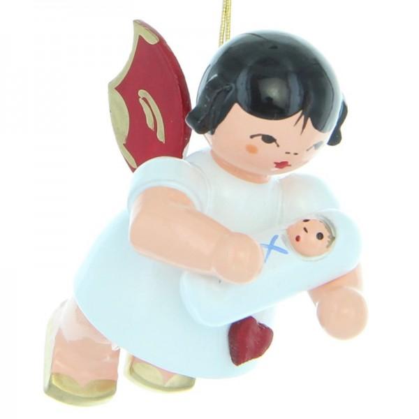 Uhlig Herzengel schwebend mit Baby Junge, rote Flügel, handbemalt