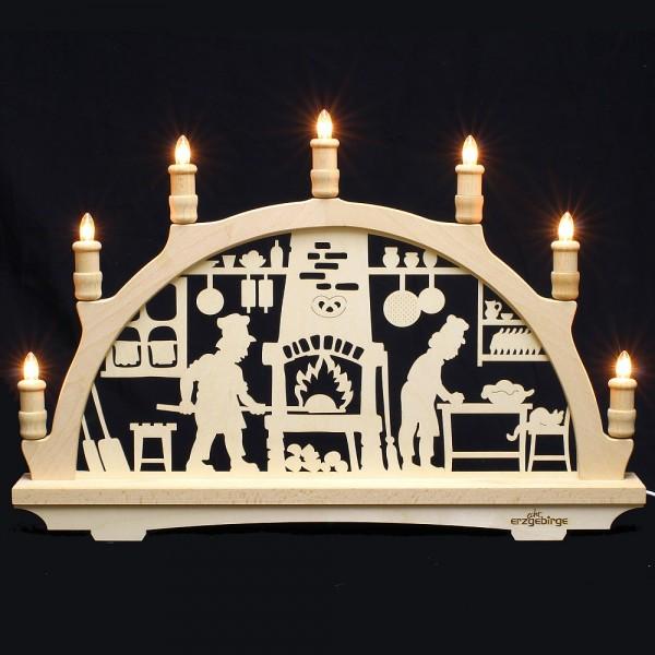 Lichterbogen aus Buchenholz, einfach - Echt Erzgebirge - Motiv Weihnachtsbäckerei
