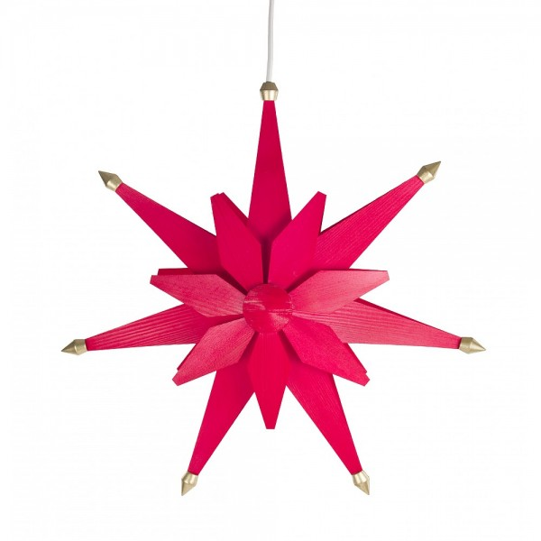 Dregeno Erzgebirge - Weihnachtsstern aus Holz, elektrisch beleuchtet - Ø 40cm