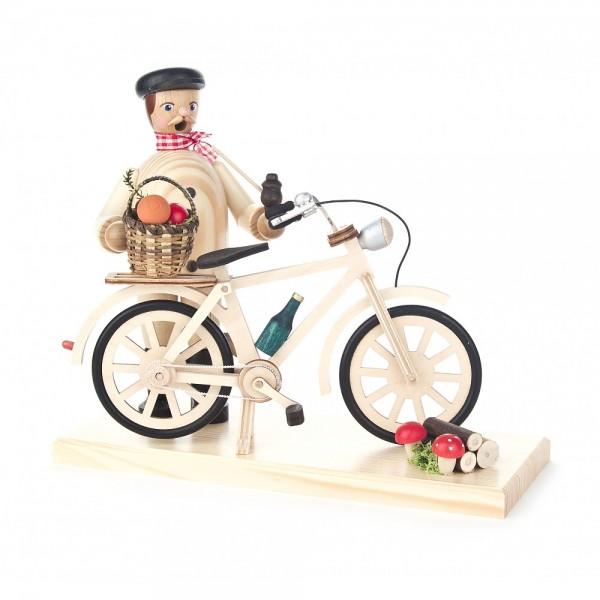 Dregeno Erzgebirge - Räuchermann mit Fahrrad, Pilzsucher - 18cm