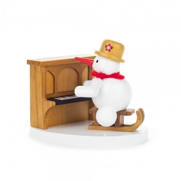 Dregeno Erzgebirge - Miniatur Schneemann am Klavier - 7cm