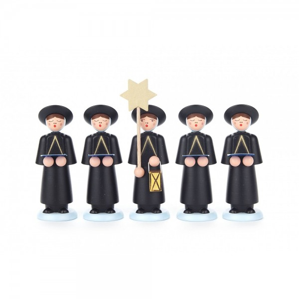 Dregeno Erzgebirge - Kurrendefiguren mit Sternträger und 4 Sänger mit Buch, schwarz - 9cm
