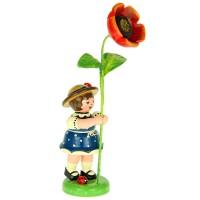 Hubrig Blumenmädchen 11cm Blumenkind mit Mohnblume
