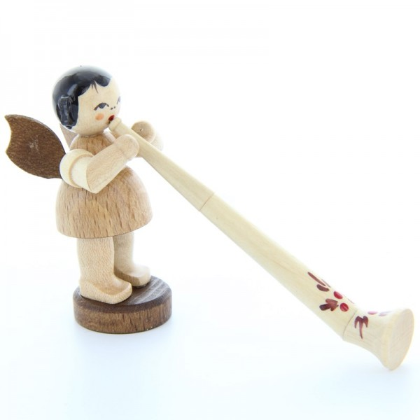 Uhlig Engel stehend mit Alphorn, natur, handbemalt