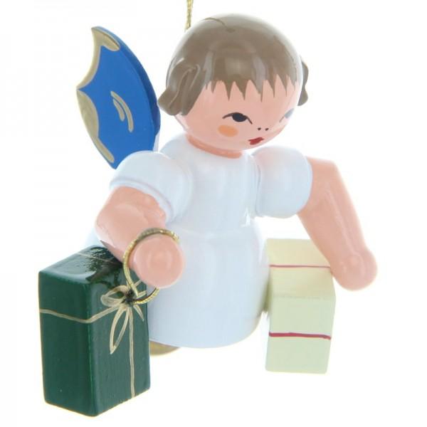 Uhlig Schwebeengel mit 2 Geschenken, blaue Flügel, handbemalt