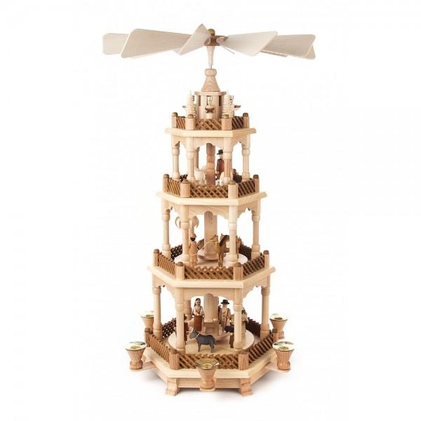 Dregeno Erzgebirge - Pyramide 4-stöckig mit Christi Geburt, Figuren natur - 59cm