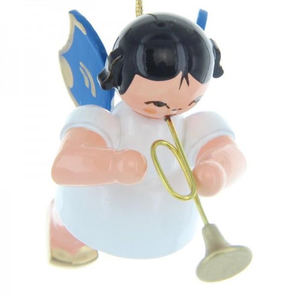 Uhlig Schwebeengel mit Trompete, blaue Flügel, handbemalt