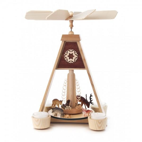 Dregeno Erzgebirge - Pyramide Waldtiere, für Teelichter - 31cm