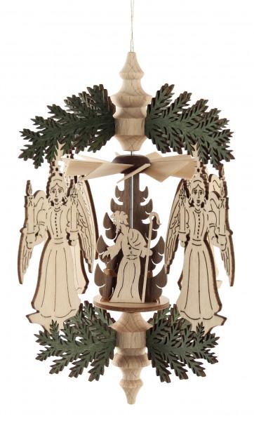 Dregeno Erzgebirge - Wärmespiel Weihnachtskranz Engel, Christi Geburt, zum Hängen