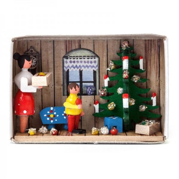 Dregeno Erzgebirge - Miniatur-Zündholzschachtel Vorfreude auf Weihnachten
